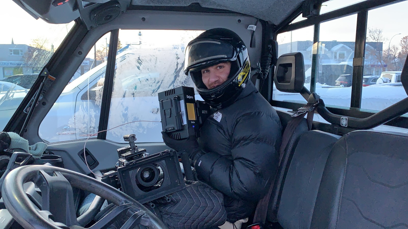 Dejero EnGo enabled live video streaming from Mercedes vehicles on a frozen lake in Manitoba