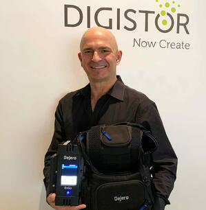 Digistor Account Rep, Olivier Jean, with Dejero EnGo and backpack