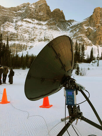 First Mile set up a flexible, portable workflow based around the Dejero CellSat service to gain wireless connectivity where there usually is none in the Canadian Rockies