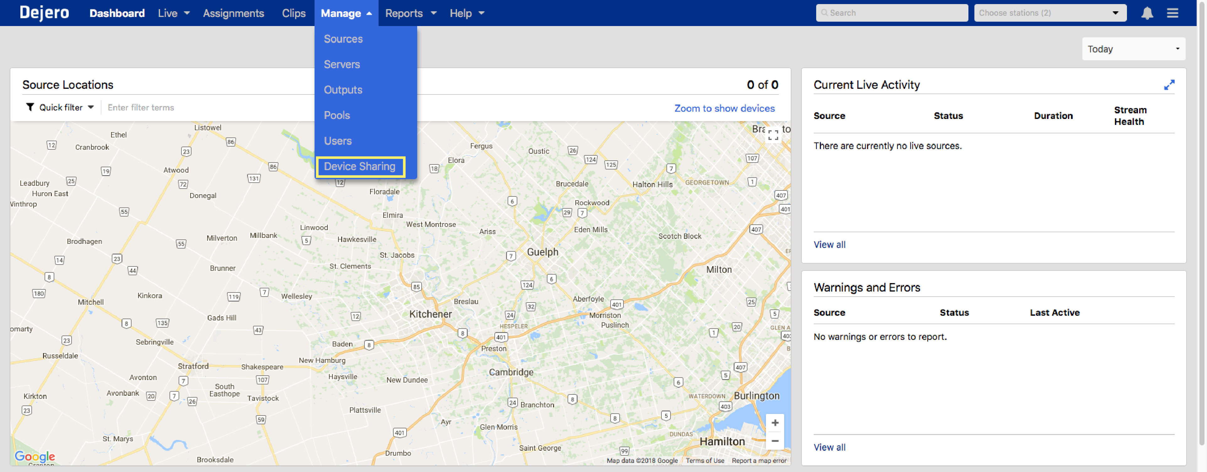 Where to find Device Sharing