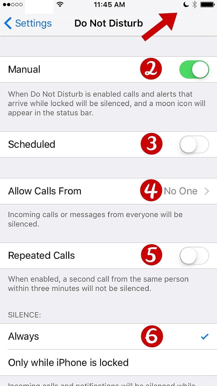 Editing Do not disturb setting on iPhone