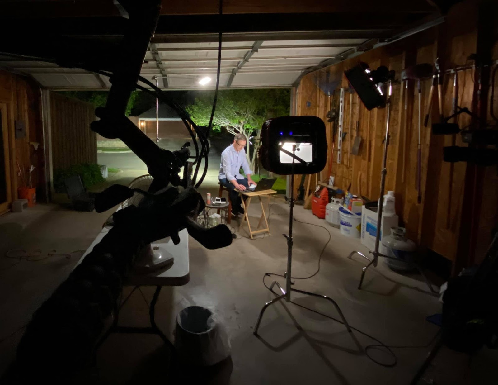NBC5 photojournalist Nefty Gonzalez set up a make-shift studio in Brian Curtis's home, allowing them to broadcast live from a garage. Image courtesy of  Nefty Gonzalez NBC5 Photojournalist.